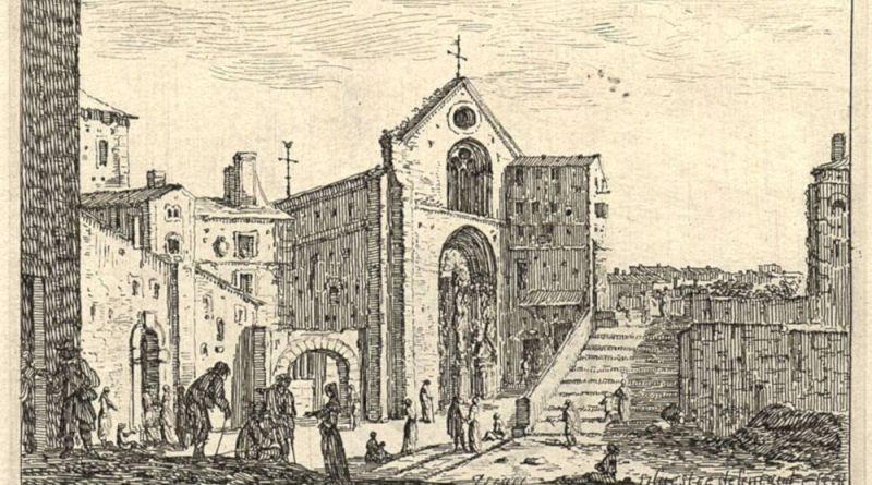 Vue de l'église Saint Denis de la Chartre par Israël Silvestre