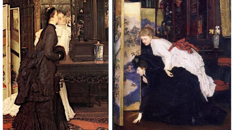 Jeunes femmes admirant des objets paponais de James Tissot
