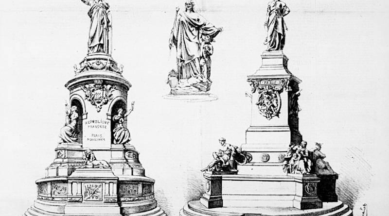 les finalistes du concours de la Statue de la République de 1879 extrait de l'Estafette du 20 octobre 1879