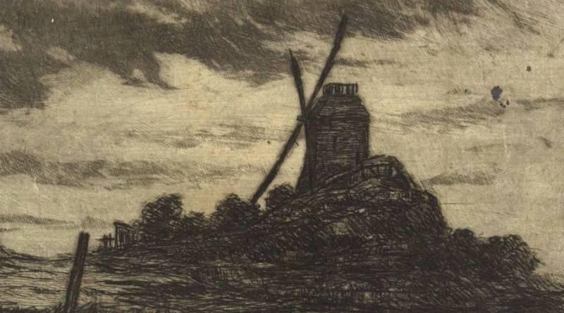 Le moulin de la Galette avec effet d'orage par Henri Guérard