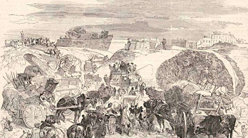 habitants de banlieue se réfugiant dans Paris en septembre 1878 - extrait du Monde illustré du 10 septembre 1878
