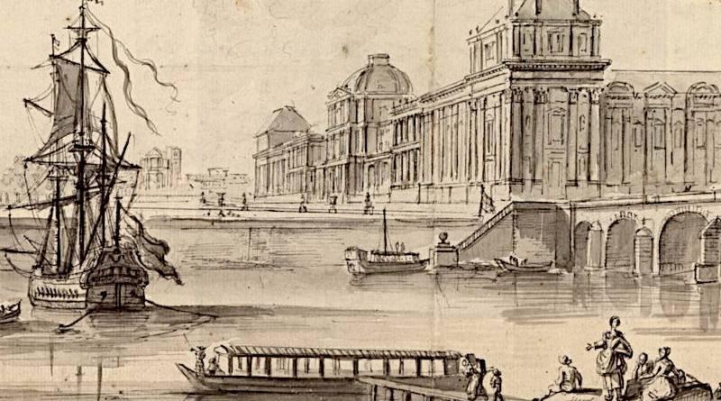 Bateau lavoir extrait du dessin de Jean Baptiste Lallemand du Louvre