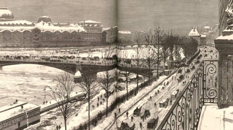 Le Louvre et la Seine sous la neige extrait du Monde illustré du 20 décembre 1879