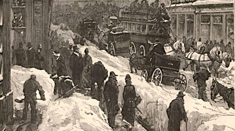 Paris sous la neige près du Sénat en 1879 extrait du Monde illustré du 13 décembre 1879