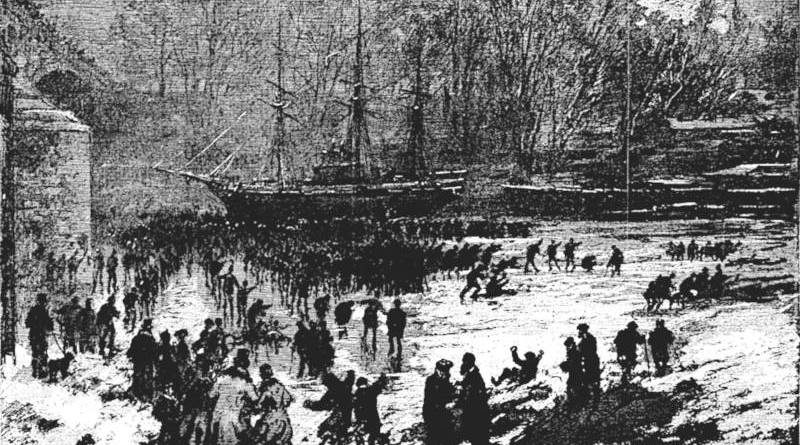Seine gelée près du pont Royal le 24 décembre 1879 - source l'univers illustré du 3 janvier 1880