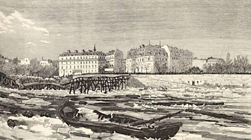 la passerelle des Invalides emportée par la débâcle de 1880 - extrait du Monde illustré du 10 janvier 1880