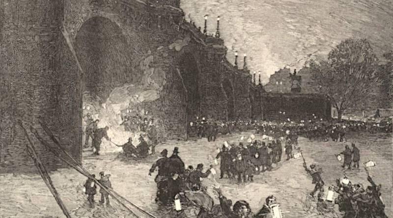le reveillon sur la glace du pont Neuf extrait du Monde illustré du 3 janvier 1880