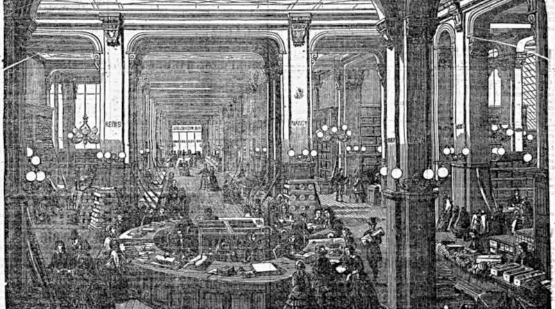 vue de la galerie du magasin de nouveautés des Villes de France - extrait de la Presse du 7 avril 1855