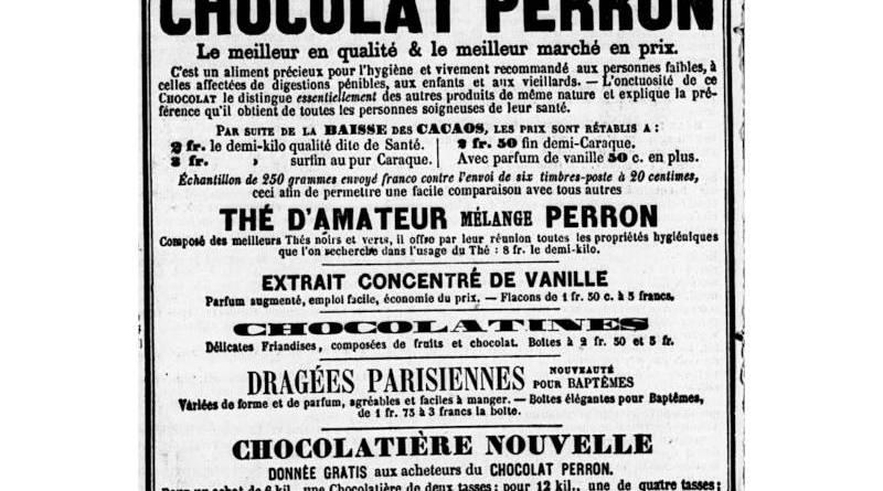 publicité pour le Chocolat Perron - extrait du Journal des villes et des campagnes du 19 mai 1858