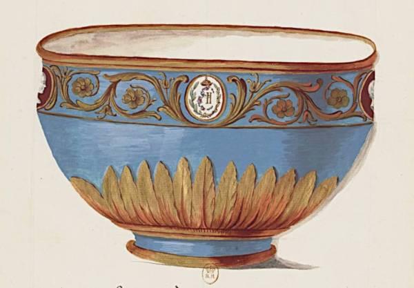 jate à rincer en porcelaine de Sèvres proposé à l'impératrice de Russie