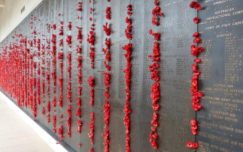 Le mur de roses du mémorial de guerre