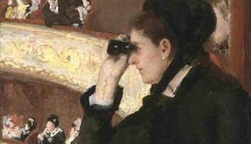 Mulher Vestida de Preto na Ópera, Mary Cassatt