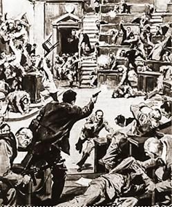 Ilustração do jornal italiano Corriere della Sera sobre o tiroteio de 1957
