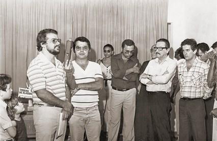 Inauguração da Sucursal da Tribuna de Alagoas em Arapiraca. Teotônio Brandão Vilela e o prefeito de Arapiraca João do Nascimento Silva