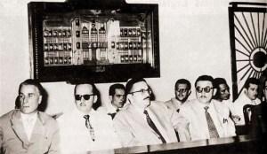 Julgamento do impeachment de Muniz. Deputados Mário Guimarães, Aroldo Loureiro, Teotônio Vilela, Luiz Coutinho em 13 de setembro de 1957