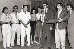 Lima Filho, Sabino Romariz, Lima Neto, Elsa Montenegro, Jorge Amorim, Haroldo Miranda e Cláudio Alencar em 1958 na novela O Homem da Casa Vermelha