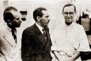 Professor Ezechias da Rocha, chefe da Clínica da Santa Casa, jornalista Melchiades da Rocha e Dr. Lages Filho