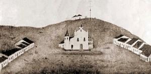 Pintura que retrata a Capela de São Gonçalo e o primeiro núcleo urbano de Maceió