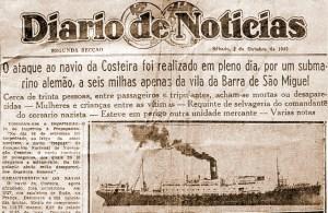 Diário de Notícias informa sobre o torpedeamento do Itapagé
