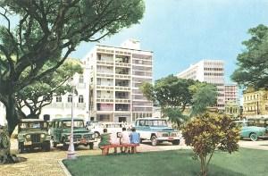 Praça D. Pedro II nos anos 60, com o Parque Hotel.Foto de Waldemar Neto