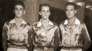 Três grandes jogadores do basquete alagoano dos anos 50 jogando pelo Iate. Fernando Figueiredo. Carlos Paes e Dácio Camerino.