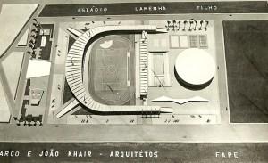 Maquete original do Trapichão, com o nome de Estádio Lamenha Filho