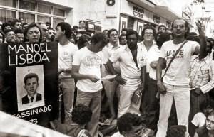 Lideranças políticas e sociais na passeata pela Anistia em Maceió