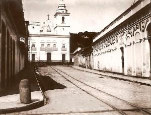 Av. Moreira Lima nos anos 40 com a Igreja de Nossa Senhora do Rosário dos Pretos ao fundo