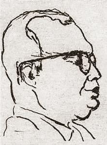 Diégues Júnior em uma caricatura de 1954