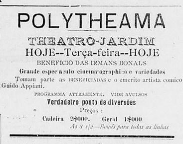 Anúncio da reabertura do Polytheama em 25 de agosto de 1908