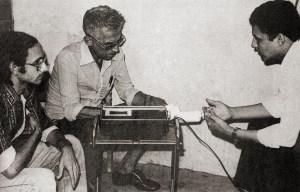 Afrânio Godoy e Romero Vieira Belo entrevistam o vereador Pedro Marinho Muniz Falcão, candidato ao Senado em 1974