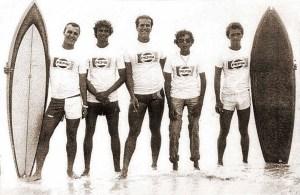 Competição na Praia do Sobral em 1979. Marola, Mosquito, Sotero, Soya e Carlos Virgilio, o Gal