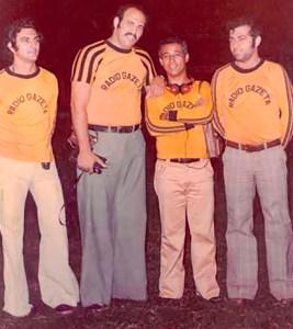 João Malta. Marcio Canuto. Jurandir Costa e Antonio Avelar, da equipe de esportes da Rádio Gazeta dos anos 70