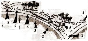 Planta de Jaraguá de Carlos Mornay em 1841. A seta nº 8 indica o local da futura Ponte dos Fonsecas, na Praça Sinimbu