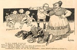 Charge com Gabino Besouro publicada em O Malho, Rio de Janeiro, de 20 de outubro de 1917