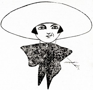 Auto-caricatura de Aline Sarmento publicada na Gazeta de Notícias de 11.08.1923.