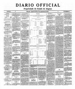 Primeira edição do Diário Oficial de Alagoas, em 17 de janeiro de 1913 diagramado em oito colunas