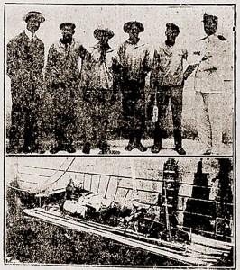 Jangadeiros e jangada Independência chegaram ao Rio de janeiro no dia 2 de dezembro de 1922. Foto jornal A Noite