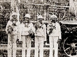 Jangadeiros alagoanos no Catete ao serem recebidos pelo presidente Arthur Bernardes. Foto A Noite 9 de dezembro de 1922
