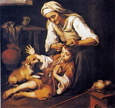 Vieja espulgando a un niño de Murillo