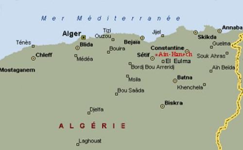 Mapa del norte africano que tienen señalado el yacimiento arqueológico de Ain Hanech