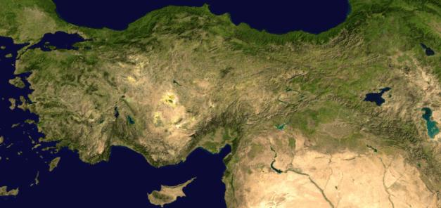 Mapa físico mudo de la península de Anatolia