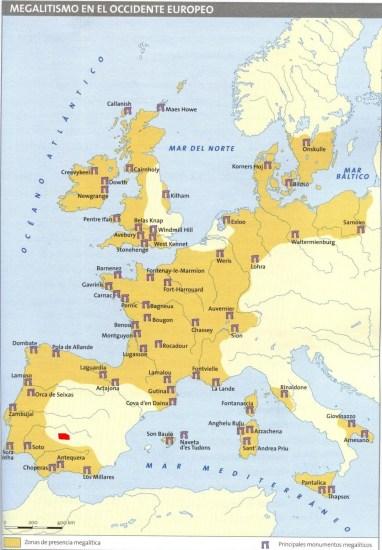 Mapa europeo aproximado de las manifestaciones del megalitismo europeo