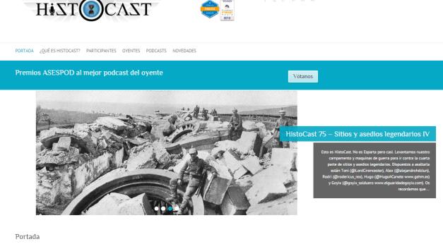Captura de pantalla general de esta web de podcast de Historia militar