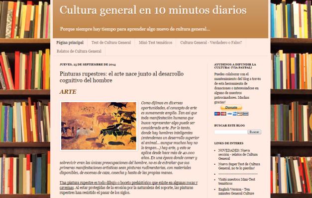 Captura de pantalla general de este gran blog de cultura general