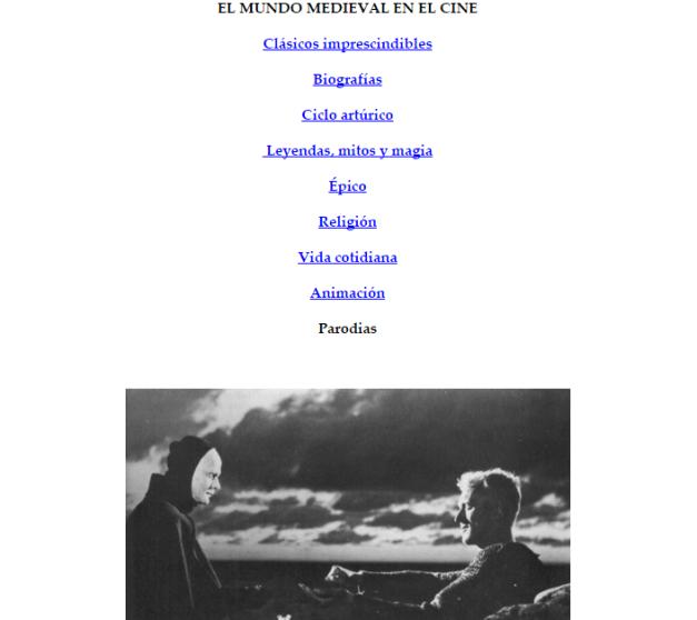 Captura de pantalla de las categorías de recomendaciones de cine histórico medieval que ofrece esta gran web