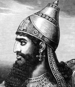 Reconstrucción histórica del aspecto del rey asirio Senaquerib