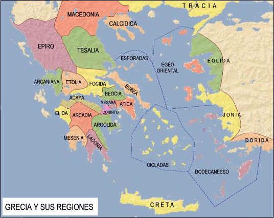 Mapa que muestra las regiones en las que se dividía la Grecia Antigua