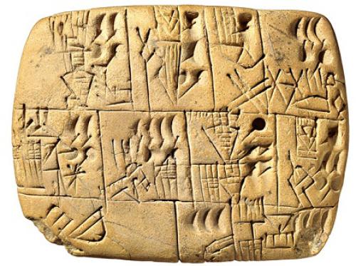 Tablilla con escritura cuneiforme