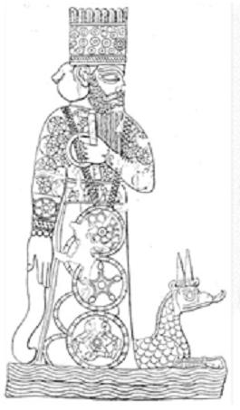 Imagen del dios Marduk de la religión en Mesopotamia